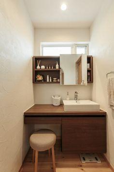 落ち着いた雰囲気で長居したくなる洗面所 #洗面 #igstylehouse #アイジースタイルハウス Bathroom Toilets, Washroom, Small Bathroom, Washbasin Design, Small Toilet, Minimalist Home Interior, Living Room Designs, Diy Furniture, Building A House
