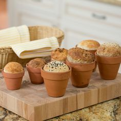Learn how to make Bread in a Flower Pot from Jill Bauer! Made in a terra cotta pot and topped w/ sesame, poppy & pumpkin seeds, this bread recipe is tasty! Bread Maker Recipes, Easy Bread Recipes, Cake Recipes, Cooking Bread, Bread Baking, Campfire Food, Sweet Desserts, Food Inspiration, Flower Pots