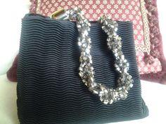 borsa in tessuto con manico gioiello