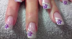 Slant French mani with single added line and one flower in corner of French Tip. French Nail Art, French Nail Designs, Creative Nail Designs, Toe Nail Designs, Cute Nail Art, Beautiful Nail Art, Cute Nails, Pretty Nails, Michelle Nails