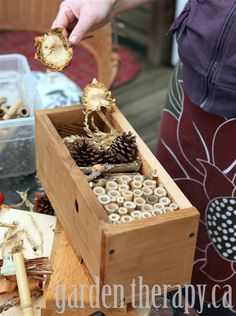 Make a bug hotel using natural materials to attract beneficial insects to your garden (and it's garden art too!)