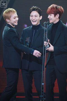 Xiumin, Chen, Baekhyun - 161116 2016 Asia Artist Awards Credit: Mon Ami Chen.