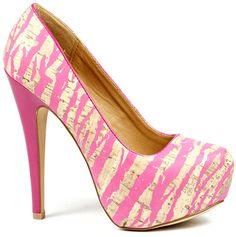 Fuchsia Pink Zebra Cork High Heel Platform Pump 6.5 us Qupid Penelope49