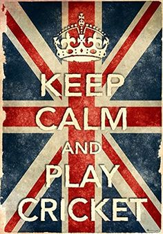 Vintage Style Union Jack Keep Calm And Play Cricket Funny Art Poster Print - X - Cricket Store