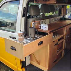 The Joy Of Having A Camping Camper RV On A Camping Trip - family camping site Interior Trailer, Van Interior, T4 Camper Interior Ideas, Volkswagen Bus Interior, Kombi Interior, Interior Design, Airstream Interior, Van Life, Kombi Trailer