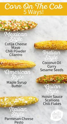 These 5 corn on the cob recipes are equally fun to make as they are easy! They're the perfect side d Corn Recipes, Side Dish Recipes, Vegetable Recipes, Mexican Food Recipes, Vegetarian Recipes, Cooking Recipes, Recipes Dinner, Bbq Dinner Ideas, Grilled Dinner Ideas