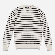 Crew neck, 90% cotton 10% wool yarn dyed stripe, Recycled polyester woven labels.