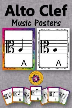 Alto Clef Flashcards and Posters! Perfect for the elementary music classroom decor set! Piano Lessons, Music Lessons, Music Classroom, Classroom Decor, Music Teachers, Music Flashcards, Music Education Activities, Music Lesson Plans, Teaching Music