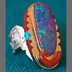 Leo Yazzie Silver 14k Gold and Black Fire Opal Ring - Sedona Indian Jewelry
