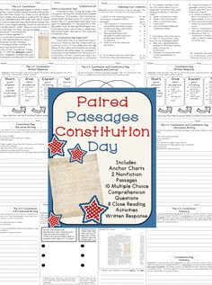 Constitution Day Ideas - Constitution Day reading comprehension and close reading activities
