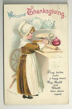 Clapsaddle Thanksgiving Postcard - Pie Baking Girl from nretrospect on Ruby Lane