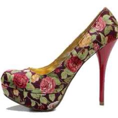 Flowery print shoes