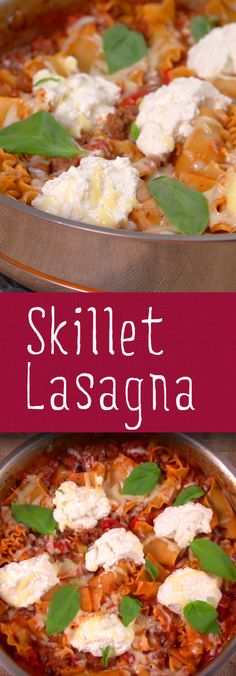 Skillet Lasagna Recipe   Lasagna doesn't have to be an all day affair. With only ten minutes of prep time and 40 to cook you can enjoy all the deliciousness of lasagna straight from the skillet for a tasty one-pot meal. Click for the video and recipe. #familydinner #easyrecipes #lasagna #homecooking