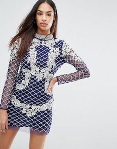 A Star Is Born High Neck Long Sleeve Heavily Embellished Dress