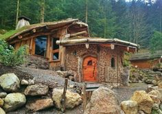 """moon-sylph: """" voiceofnature: """" """"La Maison du Hobbit"""" in the french alps, built with the cordwood technique. """" ☽ ⁎ ˚ * ☀ Transylvanian forest ✵ ⁎ * ☾ """" Cabins In The Woods, House In The Woods, Cordwood Homes, Earthy Home, Earthship Home, Eco Buildings, Fairytale Cottage, Natural Homes, Cute House"""