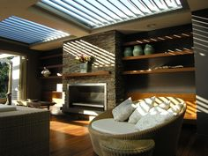 Outdoor room with operable roof - this room is open to the elements and can be closed off at the press of a button!