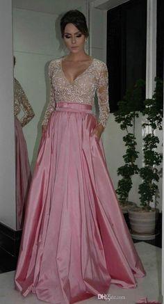 La nouvelle 2016 arabe jupe col v à manches longues rose satin taffetas applique perles robe de soirée longue robe KSDN12 dubaï robes turquie(China (Mainland))