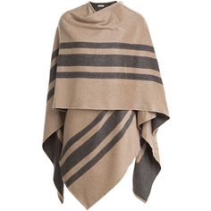 Burberry Shoes & Accessories Wool-Cashmere Blanket Cape (900 CAD) ❤ liked on Polyvore featuring outerwear, jackets, capes, coats, cardigans, brown, cape coat, cashmere capes, woolen cape and burberry
