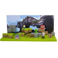 Inspired by the online community, this authentic playset comes with 15 props and four mini-figures -- three of which are exclusive to this set -- to make your own Minecraft story come to life. Choose from one of four iconic backgrounds to set the stage and use the mini-figures and accessories to set up your scene. Download the FREE mobile app and animate in three easy steps. Swap out the background cards, props and environment pieces for endless storytelling. Use the app to create and edit y...