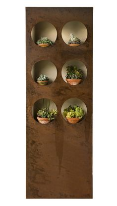 Ideal to be placed against a wall, the Porthole Wall Garden comes with 10 portholes and includes concealed perforated shelves. This vertical wall garden is easily installed. Made in our Melbourne workshop. Outdoor Metal Wall Art, Metal Wall Decor, Outdoor Art, Outdoor Walls, Metal Art, Outdoor Gardens, Rusted Metal, Outdoor Living, Outdoor Decor