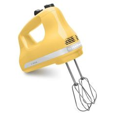 Hand Mixers are nice to have for on the go mixing needs. This 5 Speed mixer is easy to use and works like a charm. This Majestic Yellow Ultra Power Kitchen Aid 5 Speed Hand Mixer from KitchenAid.