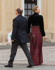 Prince Albert II of Monaco and Princess Charlene of Monaco attend the Christmas gifts distribution at the Palace of Monaco on 18.12.13