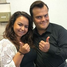 Associate Editor Ally D'Aluisio with Jack Black on the set of Goosebumps.
