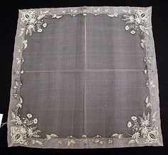 Handkerchief, early c. French, silk, linen, Metropolitan Museum of Art Antique Lace, Vintage Lace, Hessian Table Runner, White Embroidery, Needful Things, Vintage Accessories, Elsa, Textiles, Quilts