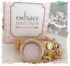 Our beautiful leather wrap bracelet also featuring a gold Swarovski crystal locket with a pink embellishment! www.southhilldesigns.com/melissadare #southhilldesigns #charms #lockets #unique #gifts #bracelets #origamiowl