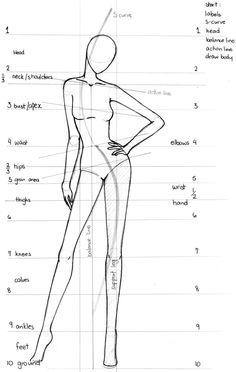 based fashion design - face- proporção corpo feminino desenho