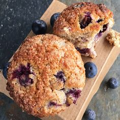 Best served warm with a thick pat of grass-fed butter or a steaming cup of coffee - these are surefire crowd pleasers and hands-down the best blueberry muffins Best Blueberry Muffins, Healthy Muffins, Blue Berry Muffins, Coconut Recipes, Real Food Recipes, Baking Recipes, Organic Blueberries, Paleo Sweets, Grass Fed Butter