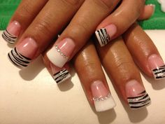 Flared Snooki nails white & black.