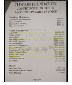 A bombshell of a document popped up on the Internet yesterday — a page allegedly from the Clinton Foundation Confidential Accounts Payable Invoice for the month of October, which lists Glenn …
