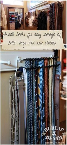 Hooks to hang ties, belts, and bags - and other closet organization ideas
