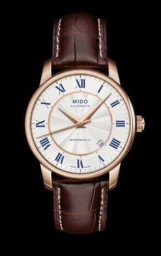 Mido Men's Baroncelli II white dial with blue script http://www.midowatch.com/en/content/m86002218 style #: M8600.2.21.8
