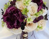 """17 Piece Package Wedding Bridal Bride Maid Of Honor Bridesmaid Bouquet Boutonniere Corsage Silk Flower PLUM EGGPLANT """"Lily Of Angeles""""IVPU02"""