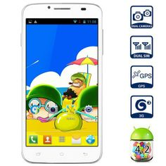 Mpie MP-H118 5.0 inch WVGA Screen Android 4.2 MTK6572 Dual Core 3G Smartphone 4GB ROM GPS Dual Cameras-White