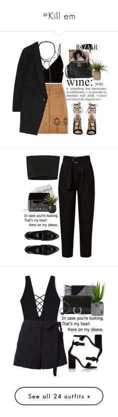 """#Kill em"" by lolgenie ❤ liked on Polyvore featuring Dorothy Perkins, T By Alexander Wang, Jacquie Aiche, Accessorize, STELLA McCARTNEY, Kerr®, WALL, Gianvito Rossi, Gucci and Calvin Klein Collection"