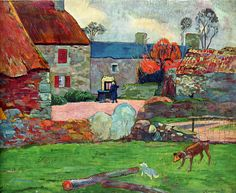 A Blue Roof by Paul Gauguin in oil on canvas, done in Now in a private collection. Find a fine art print of this Paul Gauguin painting. Paul Gauguin, Henri Matisse, Henri Rousseau, Kunst Online, Impressionist Artists, Art Moderne, French Art, Art Plastique, Vincent Van Gogh