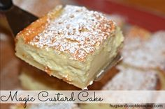 magic custard cake slice  4 eggs (whites separated from  yolks), room temp 1 tsp vanilla extract 3/4 cup sugar 8 Tablespoons butter, melted 3/4 cup all purpose flour 2 cups milk lukewarm powdered sugar for dusting cake