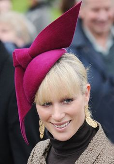 """Nothing says """"spring wedding"""" like the derrière of an ostrich affixed to your left temple. From Zara's cream-feathered frippery to Pippa's hothouse-flower chapeau, check out England's aristocratic ladies in their maddest hattery. Zara Hats, Fascinator Headband, Fascinators, Autumn Phillips, Zara Phillips, British Royal Families, Isabel Ii, Royal Ascot, Beanies"""