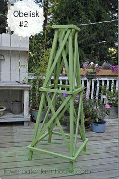 Free instructions for making this easy DIY garden obelisk for your garden.