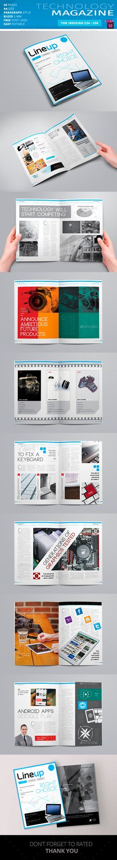 Lineup Technology Magazine Template — InDesign INDD #editable #techonolgy • Available here → https://graphicriver.net/item/lineup-technology-magazine-template/17147325?ref=pxcr