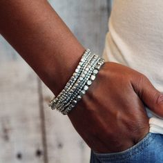 #KL.B002 This listing is for one Presh Liquid Bead Bracelet Set In Silver, an original design made from the highest quality materials. This is created by Presh, an original wrap bracelet designer and is not to be confused with a lesser quality imitation. Liquid Bead stretch bracelet set