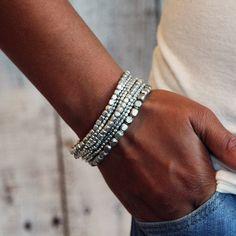 Silver Bead Bracelet Silver Bracelet Bead Bracelet by PreshStudio