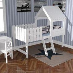 | Spielbett BAUMHAUS - für kleine Abenteurer, inkl. Lattenrost, Massivholz, weiß, 90x200cm | Kindermöbel Onlineshop