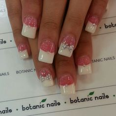 Sparkle pink nails with a bow. I wouldn't do the rhinestone or even the now probably but the French with the thick white and faint sparkle is nice