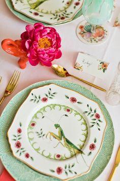 """Natural World"" praying mantis desert plates, ""Old Havana"" mint dinner plates, place cards ~ Bridal shower ~ flamingo ~"