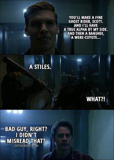Quote from Teen Wolf 6x10 │  Garrett Douglas: You'll make a fine Ghost Rider, Scott. And I'll have a true Alpha by my side. And then a Banshee, a were-coyote... Stiles Stilinski: A Stiles. Garrett Douglas: What? (Stiles hits him with a bat) Stiles Stilinski: Bad guy, right? I didn't misread that?