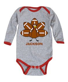 Love this Athletic Heather Football Personalized Turkey Bodysuit - Infant on #zulily! #zulilyfinds